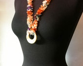 Hand Knit Necklace with H...
