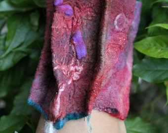 Nuno Felted Collage Cuff Bracelet Burgundy Rose Green Ultra Fine Merino and Upcycled Silk Gift for Her Cuff-010
