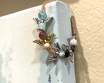 Girls row of 5 little angels stretch bracelet