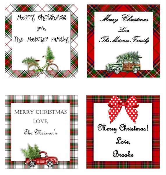 Christmas Name Tags.Christmas Gift Tags Red Truck Christmas Gift Labels Printable Holiday Tags Festive Gift Tags Holiday Name Tags Farmhouse Christmas
