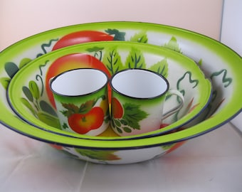 Enamelware Bowl and Cup set