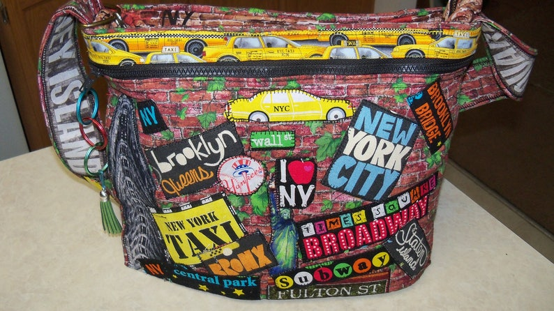 Nyc Subway Map Zippered Wallet.New York City Fabric Subway Map Collage Bag Purse Art Graffiti Tote Bag Purse Bronx Manhattan Streets Patchwork
