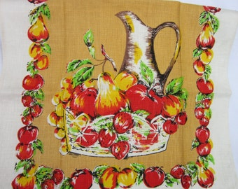 Vintage Unused Linen Tea Towel Colorful Apples, Pears, Pitcher And Fruit Bowl Still Life