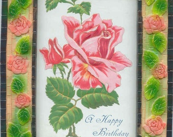 "Framed Antique Postcard To Wish ""A Happy Birthday"" Lovely Pink Rose (Great Idea For a Gift!)"