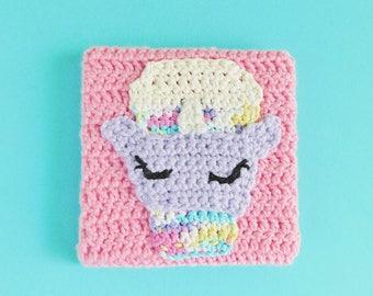 Unicorn Coffee Crochet Painting