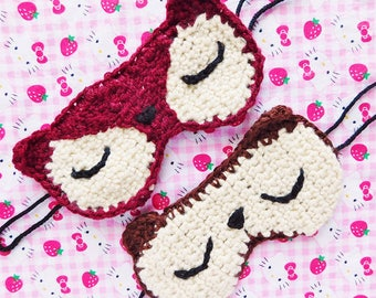 Bear and Fox Crochet Sleep Masks