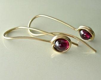 Red Garnet Gold Drop Earrings, Garnet 14K Gold-Filled Minimalist Dangle Drops, January Birthstone, Inspirational Stone