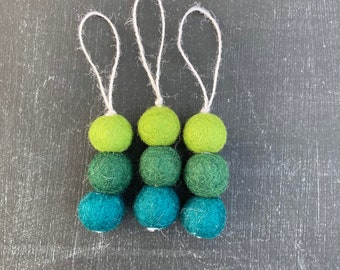 Modern Ombré Felted Wool Christmas Tree Ornament, Set of Three, GREEN