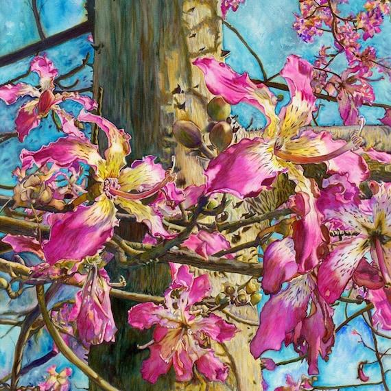 Magenta Bougainvillea Watercolor Painting Print by Prerana Kulkarni 8x10inches,watercolor art print,Bougainvillea art,Tropical Pink Magenta