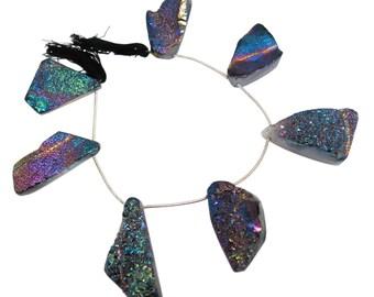 Druzy Quartz Beads,SKU 4498A Druzy Beads Drusy Titanium Druzy Beads Briolettes Titanium Drusy