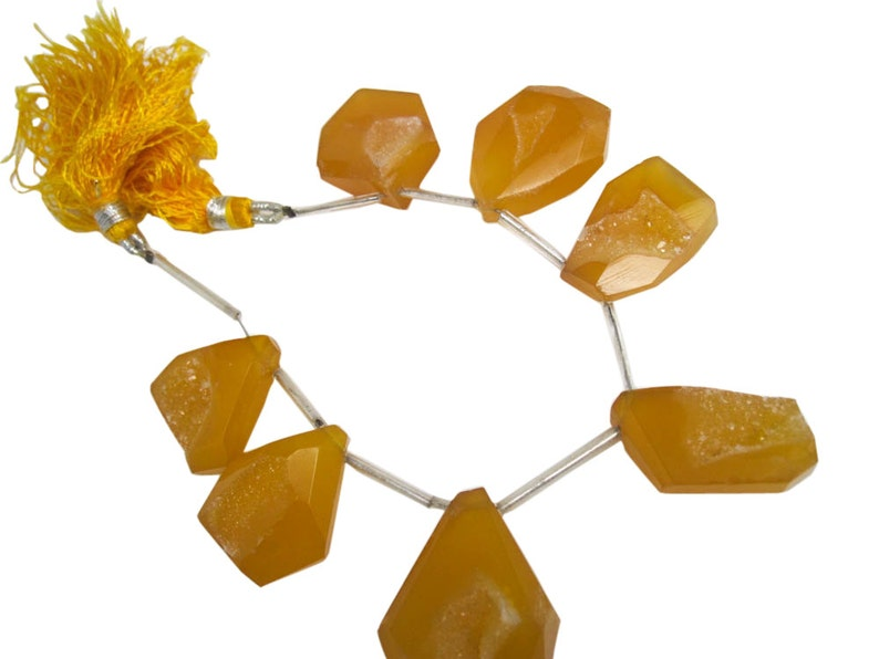 Druzy Quartz Beads Drusy Beads SKU 4911 Yellow Chalcedony Druzy Beads Duzy Drusy Quartz Quartz Drusy 22mm x 28mm