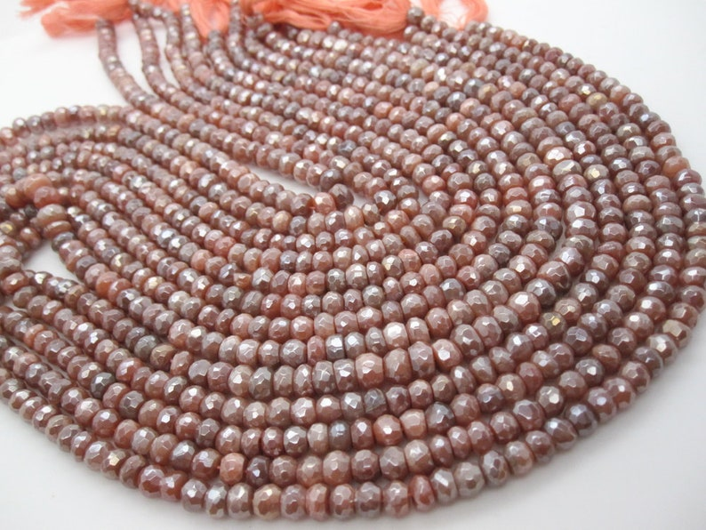 AB Peach Moonstone Beads Natural AB Coating Faceted Rondelles SKU 5205