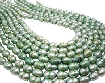 Freshwater Pearl Beads,  Sage Green Pearls, Potato Shape, SKU 4676