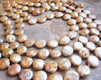 Creamy Peach Color Freshwater Coin Pearls Full Strand