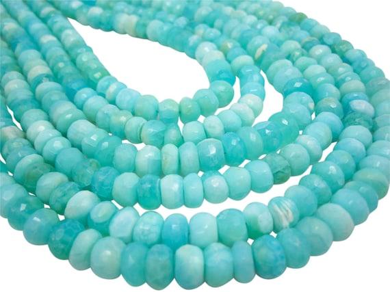 Genuine Opal Peruvian Opal Graduating Faceted Rectangle Bead 8 In Strand Blue Green Peruvian Opal Semi Precious Gem Cushion Shape Beads