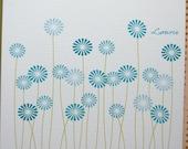 Ocean Blue Dandelions Personalized Folded  Note Cards