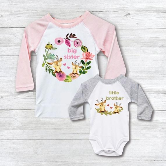 Big Sister Baby Brother Silbling Shirt Big Sister Little Brother Shirts Deer New Big Sister Outfits Baby Shower Gift New Big Sister