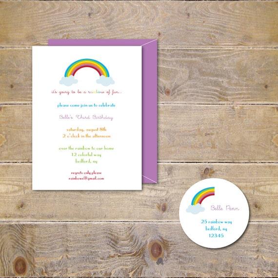 Rainbow Birthday Invitations First