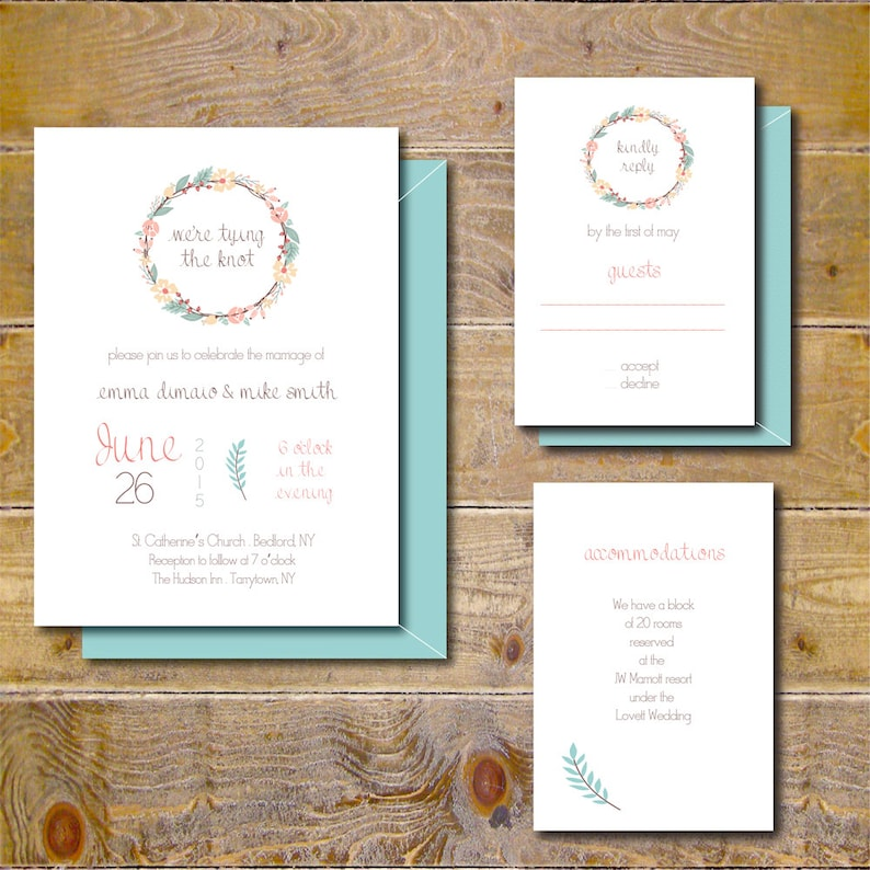 Rustic Wedding Invitations Vintage Wedding Invites Country Wedding Floral Wedding Invitation Traditional Wedding Rustic Wreath