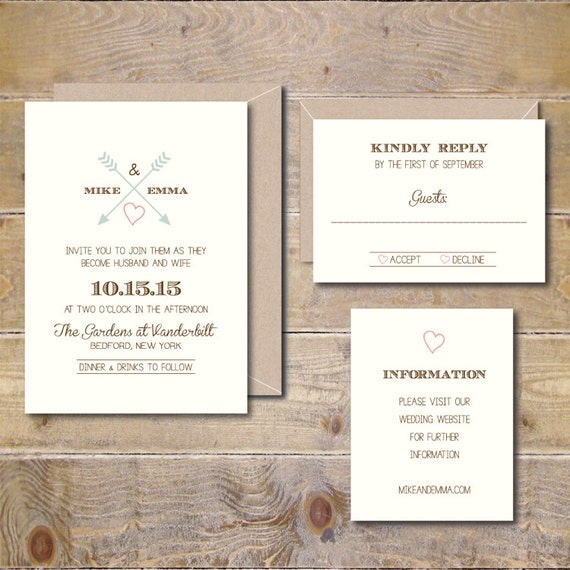 heart and arrow wedding invitations wedding invites rustic etsy