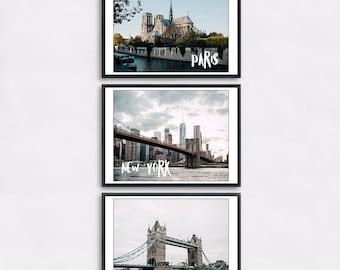 Paris + London + New York - Set of three digital prints