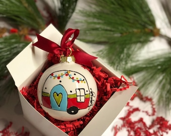personalized happy camper 3 ceramic ball ornament - Christmas Camper Decoration