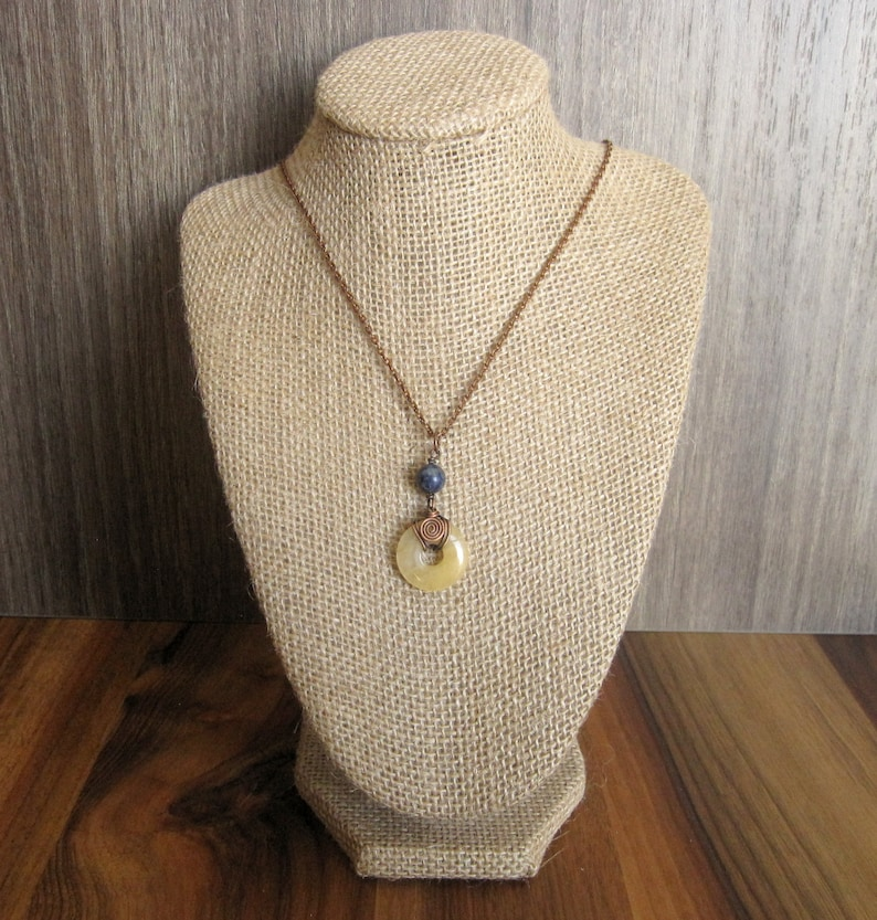 Yellow Donut and Lapis Lazuli Bead Pendant Wrapped in Oxidized Copper Wire with Matching Copper Necklace