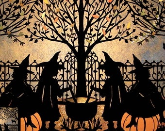 Boo Halloween Card// 5x7 Witches Brew// Pumpkins//Black Cats//Coven//ravens//Silhouette//nvitationolk Art//