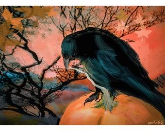 Halloween Crow Card, Halloween Crow Invitation