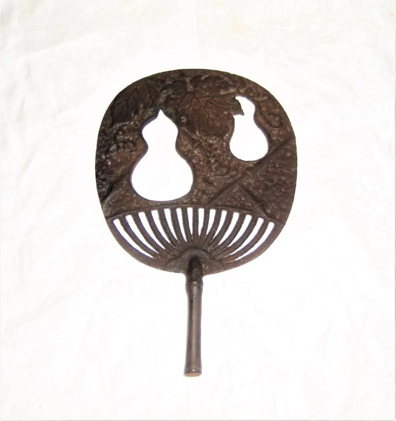 Stove Ornament Victorian Cast Iron Top Aesthetic Asian Fan Old Vintage Antique Hardware Salvage Fruit Leaf Vine Crusty Rusty Metal Large
