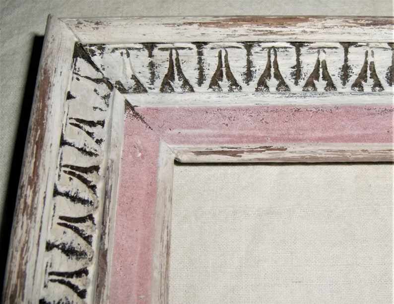 Picture FRAME Distressed White Pink Carved Wood Wooden Old Vintage Antique Shabby Cottage Chic Decor Handmade Painted Oak