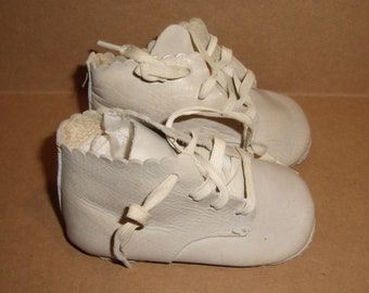 SHOES White Leather Baby Doll Child Toddler laces high top old vintage costume dress up prop pair USA