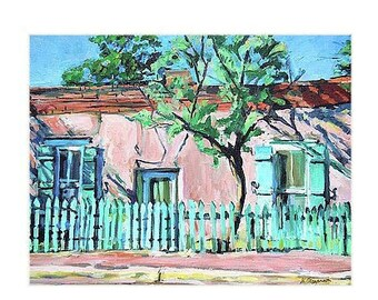 Southwestern Painting Fine Art Print 8x10 11x14 12x16 New Mexico Canyon Road Adobe House Santa Fe Painting turquoise pink Gwen Meyerson