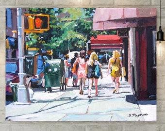 Girls On Bleecker Street, Greenwich Village, NYC Art Print, Gift for Friend,  Painting Gwen Meyerson