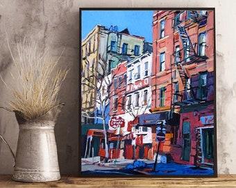 New York Art. NYC Painting. Grove Street Greenwich Village Painting. West Village Print, Buildings  Gwen Meyerson