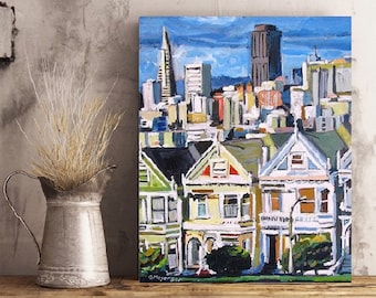 San Francisco Painting, The Painted Ladies, Victorian Art Print Cityscape Urban Painting by Gwen Meyerson