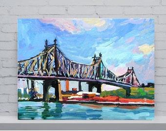 NYC Art. Queensboro Bridge. Queens. Long Island City. Astoria New York, 59th Street Bridge, Painting by Gwen Meyerson