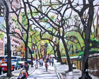 NYC Fifth Avenue Painting. New York Art Print, The Met. Central Park, Trees On 5th Avenue. Upper Eastside Painting by Gwen Meyerson