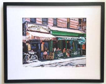 Cafe Reggio | Mamouns Falafel New York Art  Framed NYC Art Cityscape, Greenwich Village Print Falafel on MacDougal Street by Gwen Meyerson