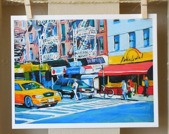 Hell's Kitchen Mexican Restaurant New York Art, NYC Art  Fine Art Print 8x10,  New York Cityscape Streetscape Painting by Gwen Meyerson