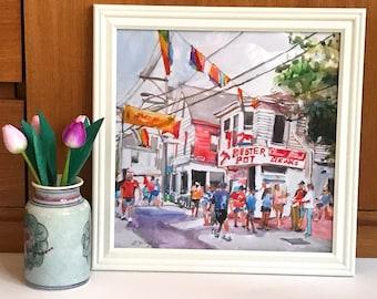 Cape Cod Provincetown Lobster Pot Art Print Framed. New England Large Watercolor Painting Massachusetts Gwen Meyerson