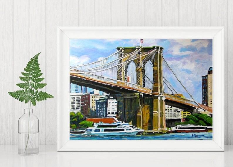 Brooklyn Bridge Painting NYC Art Iconic Bridge Art  South image 0