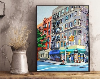 Corner Bodega Painting, New York Buildings Cityscape. NYC Wall Art Cityscape  Painting by Gwen Meyerson