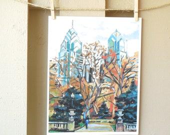 Philadelphia Painting of Rittenhouse Square, Philly Art Print Cityscape,  Gwen Meyerson