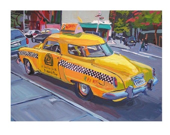 "Vintage Cab Caliente Cab Company New York Art NYC Art Painting 8x10, ""Yellow Studebaker Taco Taxi"" New York City Gwen Meyerson"