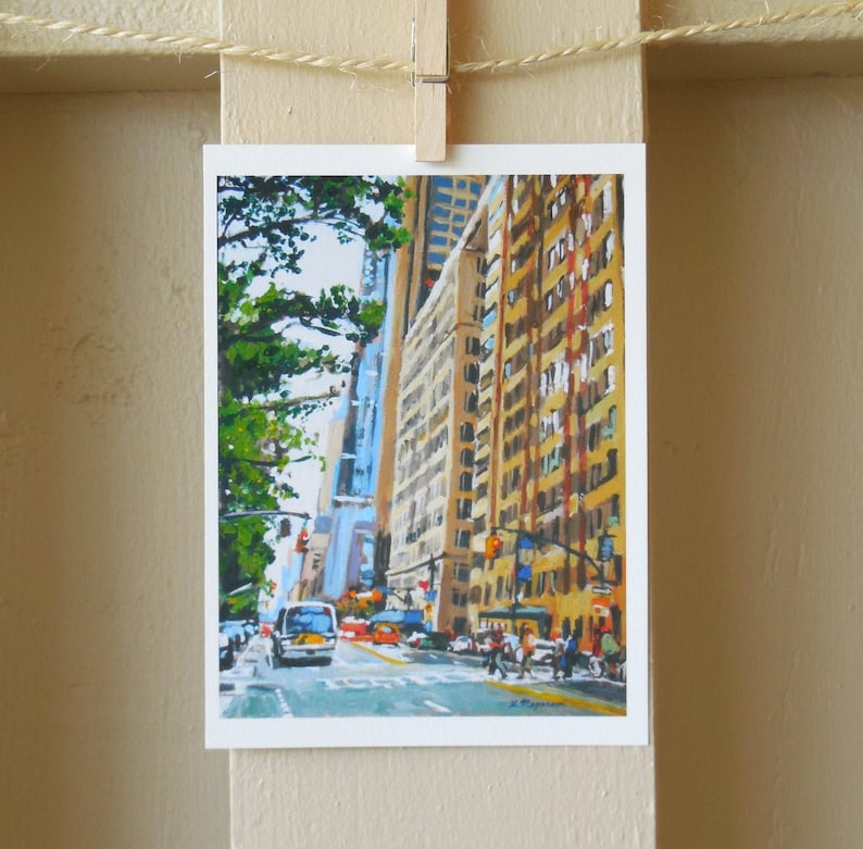 New York City Art Print Central Park West New York City Brown Cityscape Painting by Gwen Meyerson