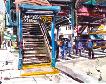 Astoria Queens NYC Watercolor Painting Subway Art  LIC Train Stop by Gwen Meyerson