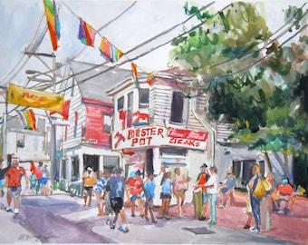 Cape Cod Provincetown, Lobster Pot, Watercolor Painting, Art Print Gwen Meyerson