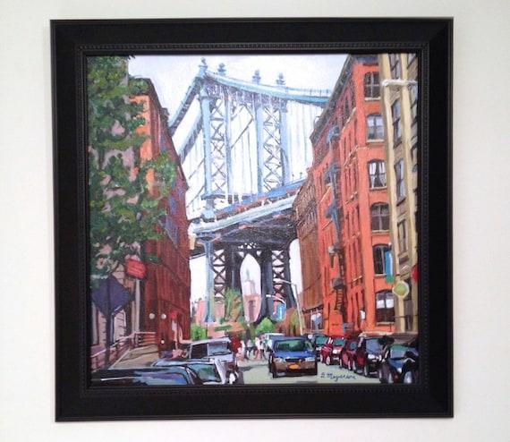Original Brooklyn Painting New York Art Manhattan Bridge Dumbo Brooklyn Bridge Art Framed Free Ship Cityscape Painting By Gwen Meyerson