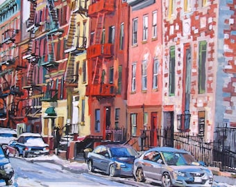 East Village Fire Escapes, New York City Art Print 8x8 inches Gwen Meyerson